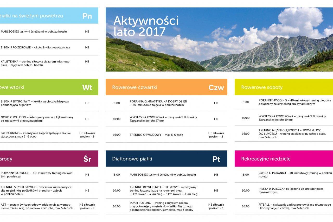 Plan aktywności Bukovina Resort Lato 2017