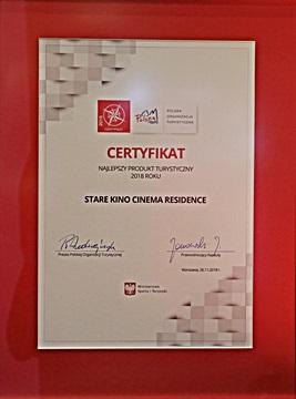 Certyfikat - Najlepszy Produkt Turystyczny 2018 - hotel Stare Kino Łódź