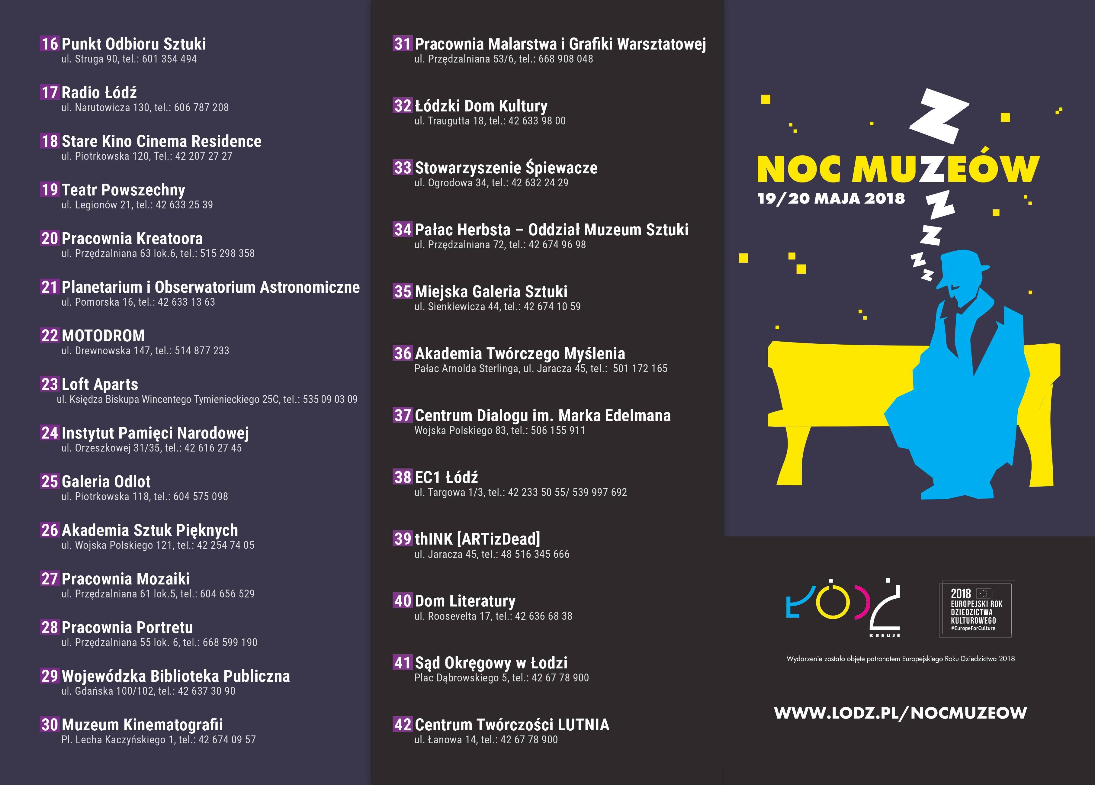 Noc Muzeów Łódź 2018 - lista obiektów