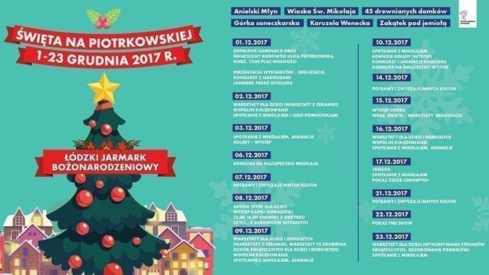 Jarmark Bożonarodzeniowy Łódź ulica Piotrkowska