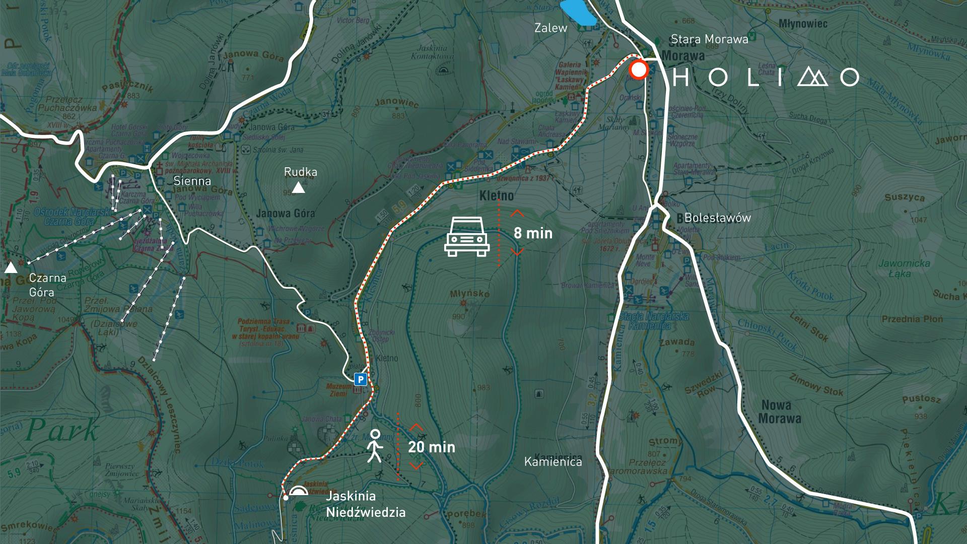 Mapa dojazdu do Jaskini Niedżwiedziej.