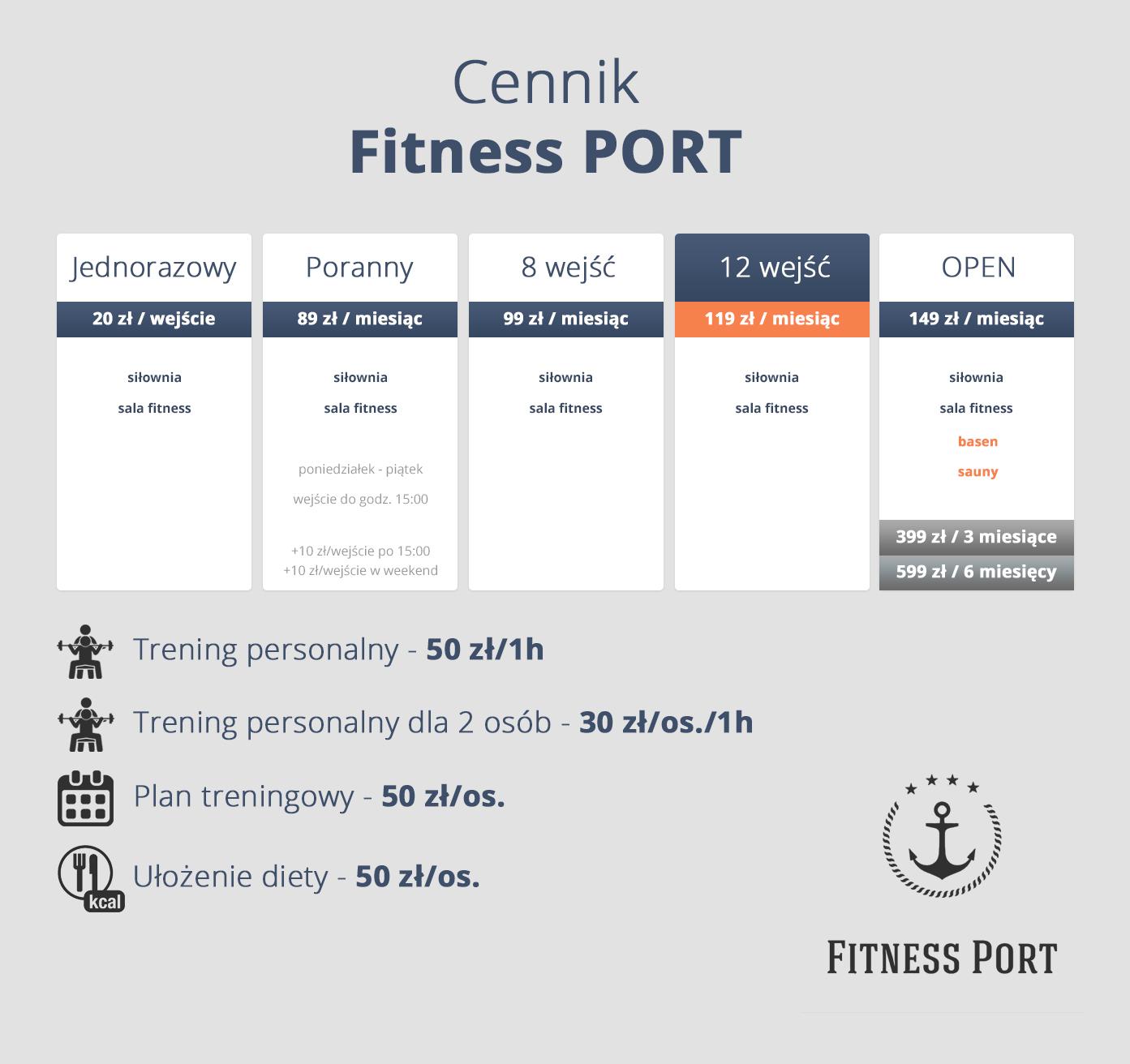 Cennik Fitness Port 2019