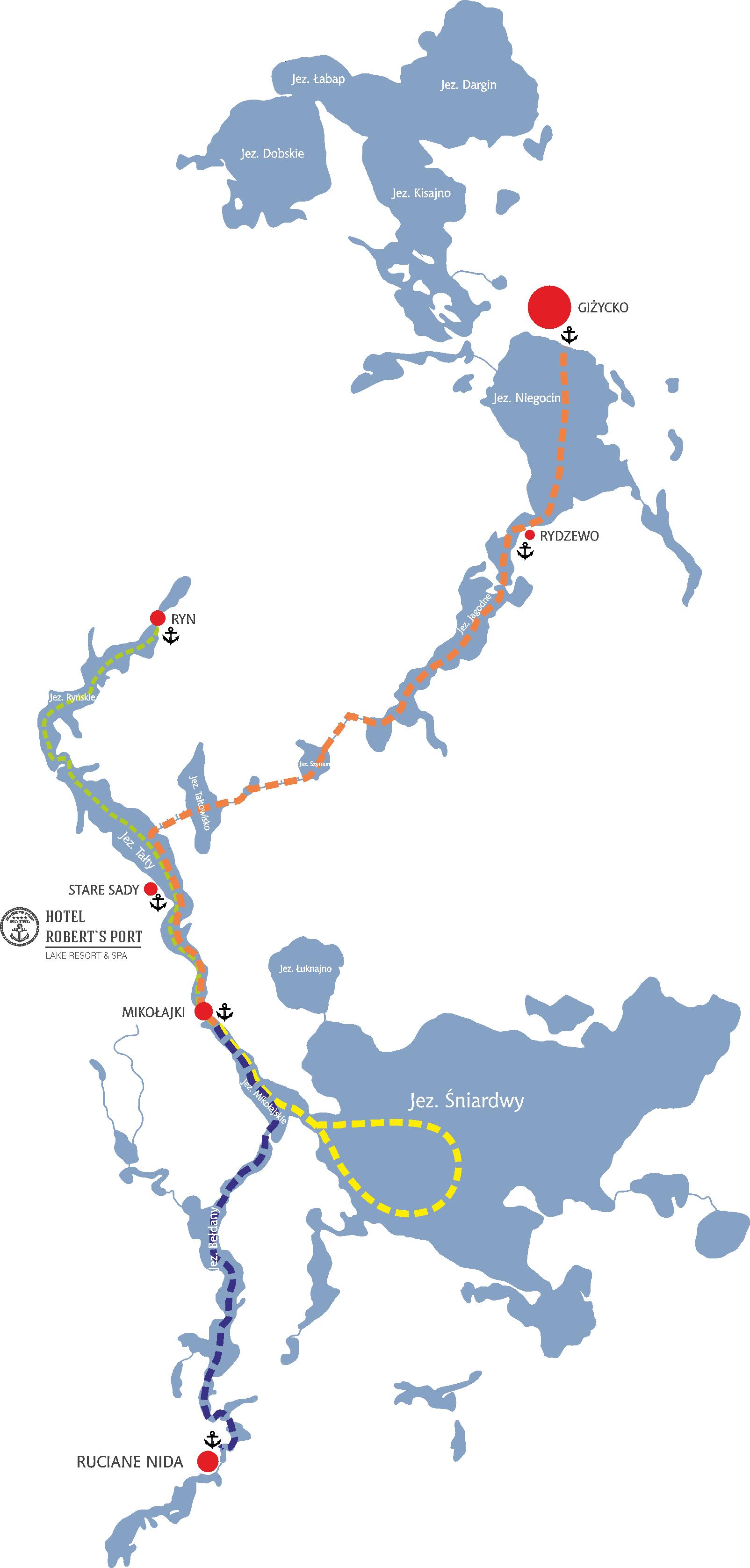 mapa z trasami rejsów