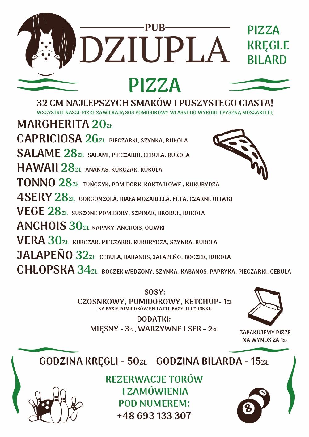 Menu 2021 kręgielni - pizzerii Dziupli
