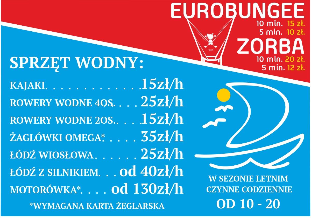 Ceny wynajmu sprzętu wodnego i atrakcje adrenalina parku nad jeziorem Wieleńskim