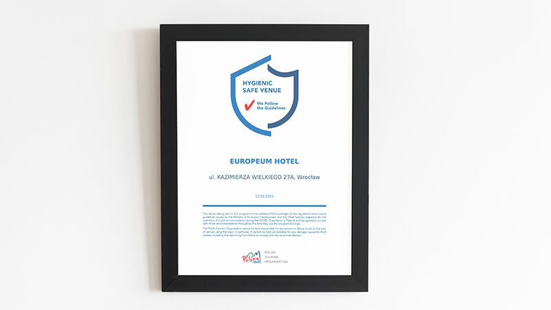 hygienic safe hotel Europeum