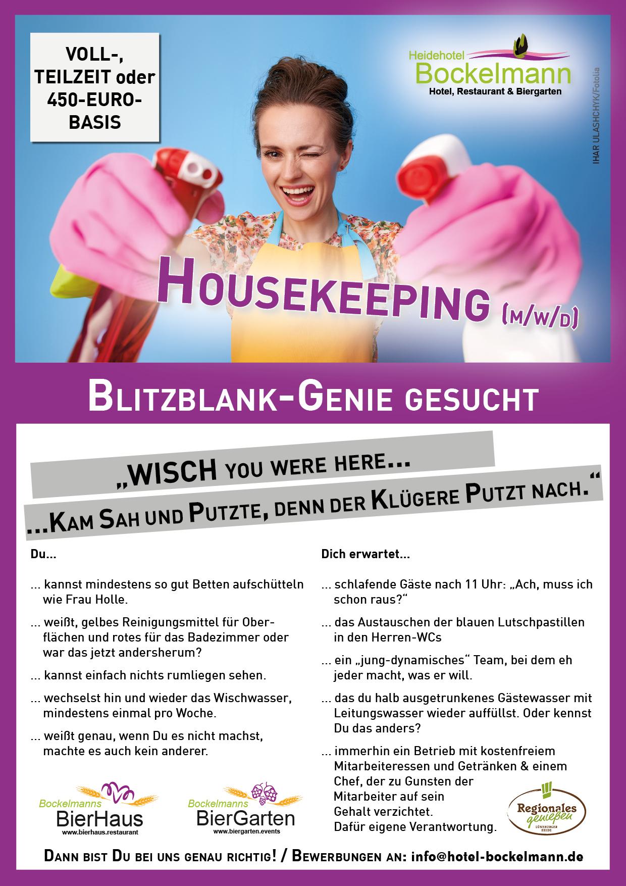 Mitarbeiter (m/w) Zimmerreinigung, Housekeeping gesucht